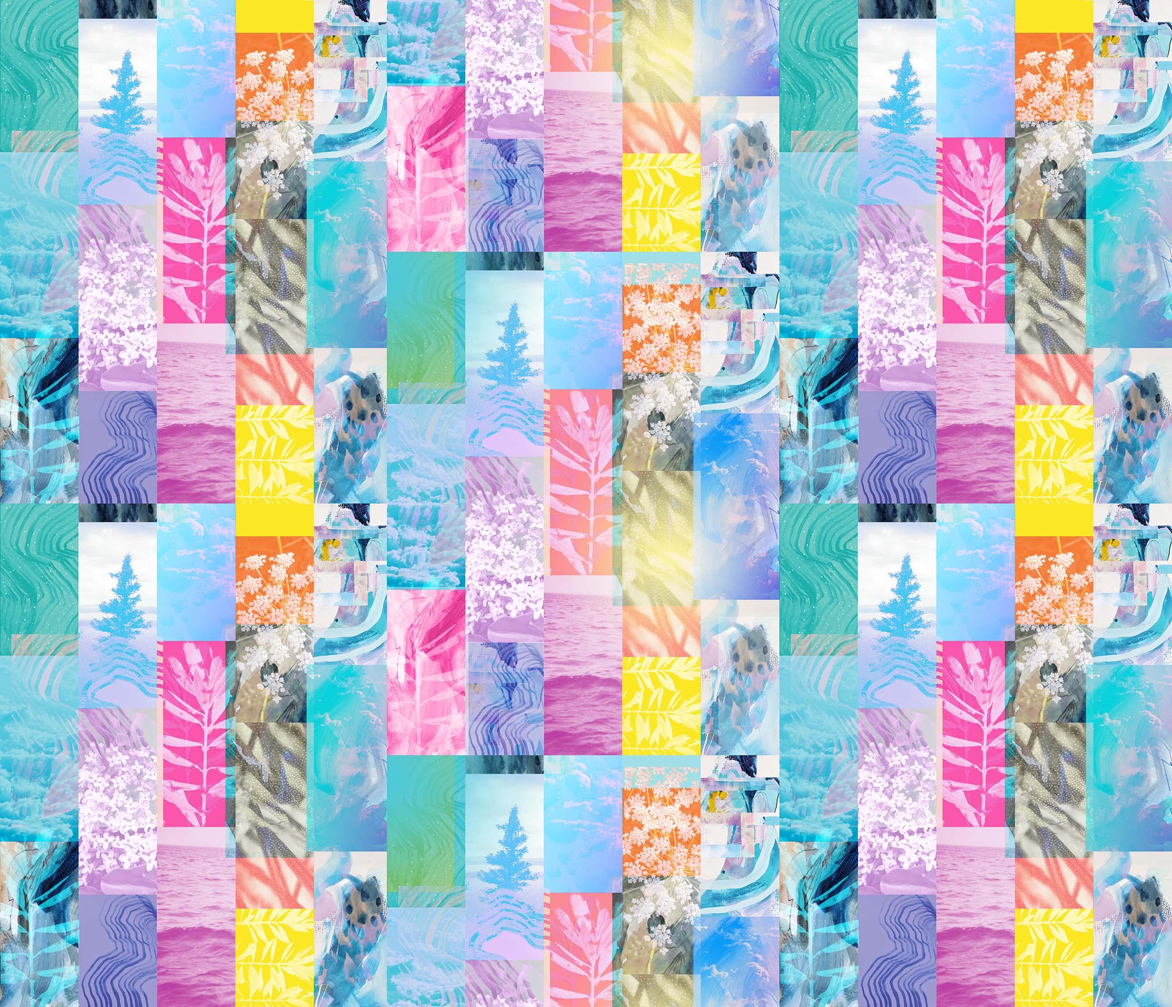 colourful quilt, rectangular shapes each illustrating natural motifs.