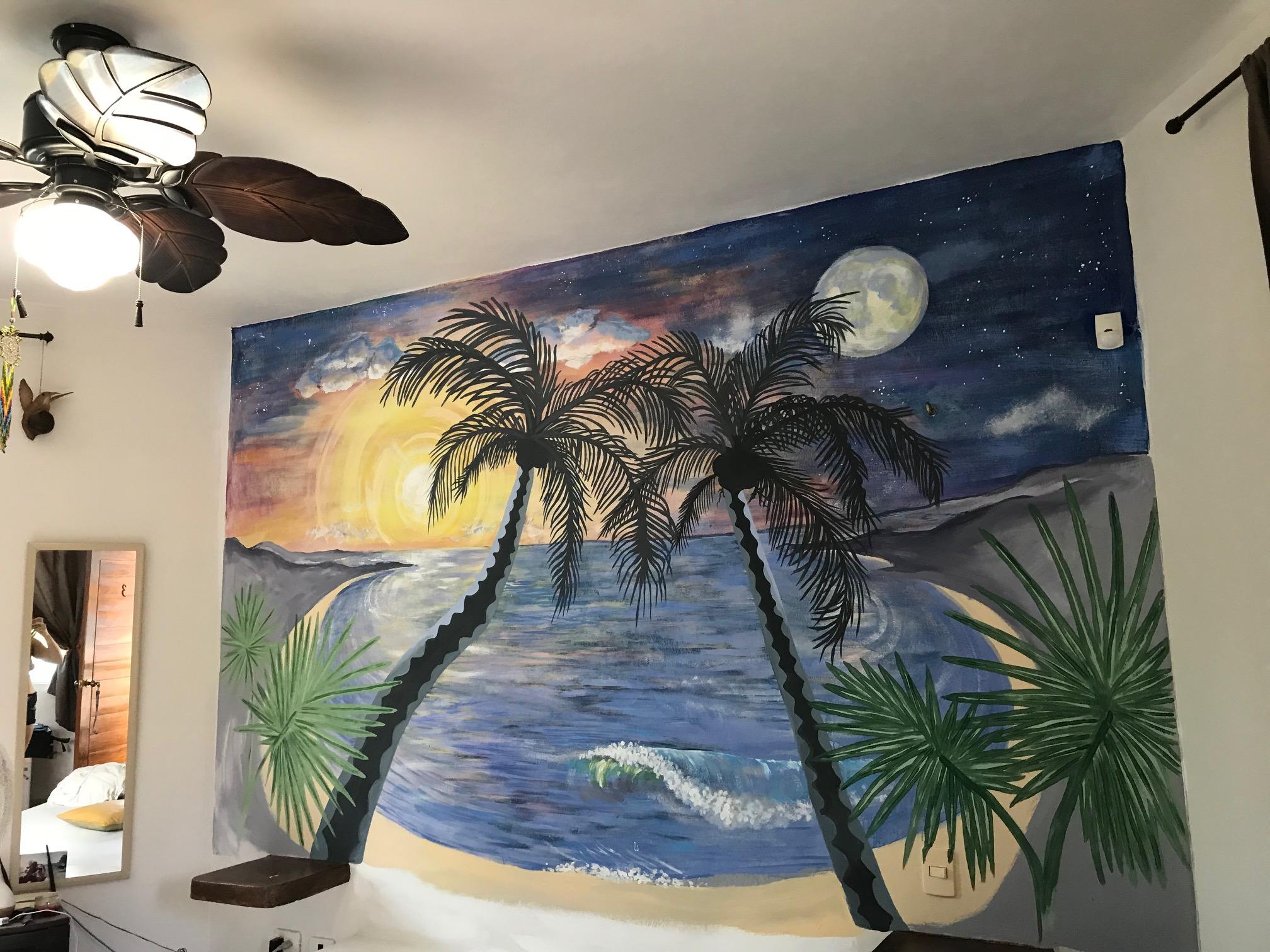 wall mural of a beach setting