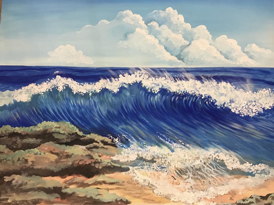 wave crashing the shore