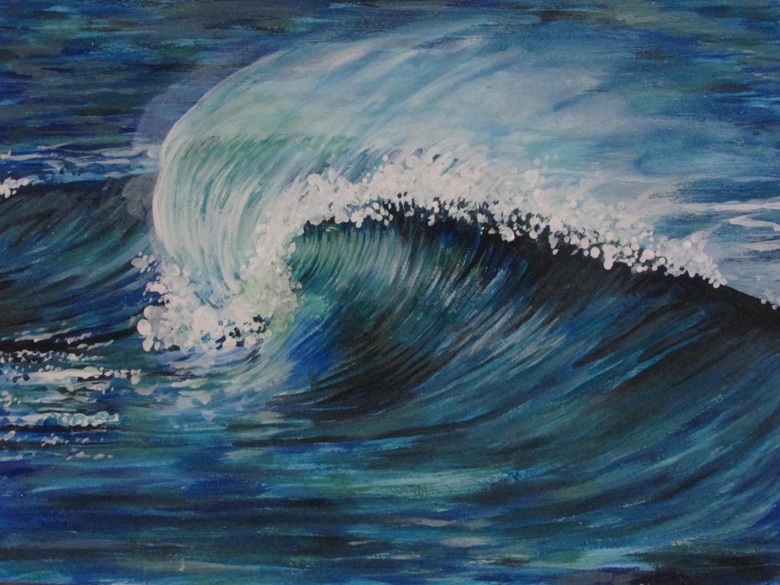 Blue wave crashing