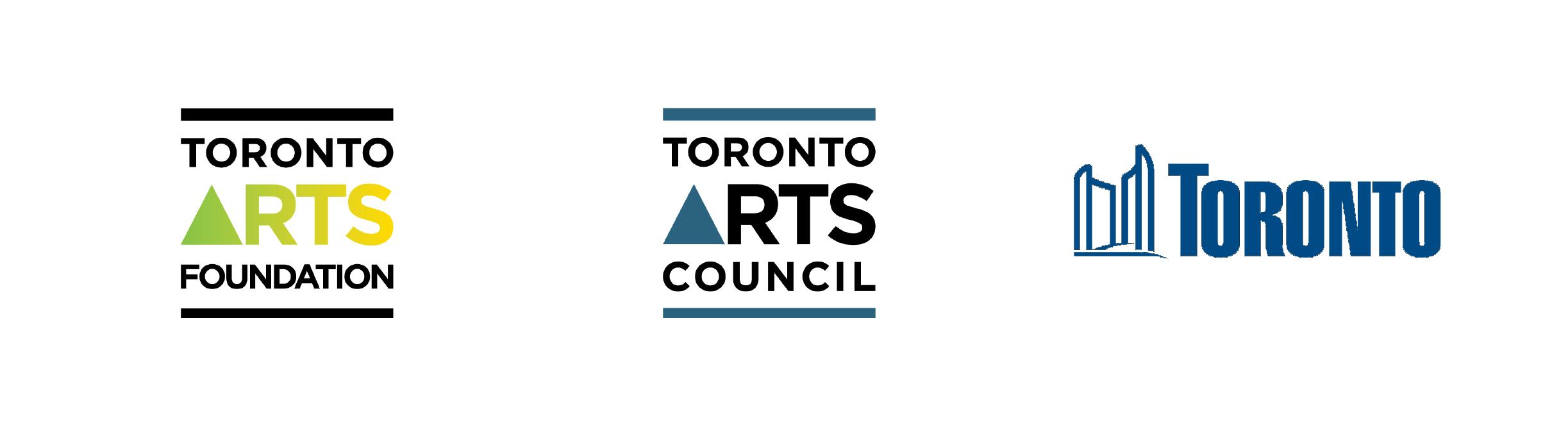 Logos of Toronto Arts Foundation, Toronto Arts Council and the City of Toronto