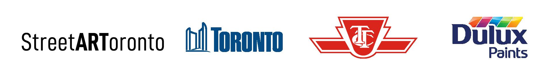 StreetARToronto logo, City of Toronto logo, Dulux Paint LogoTTC logo,