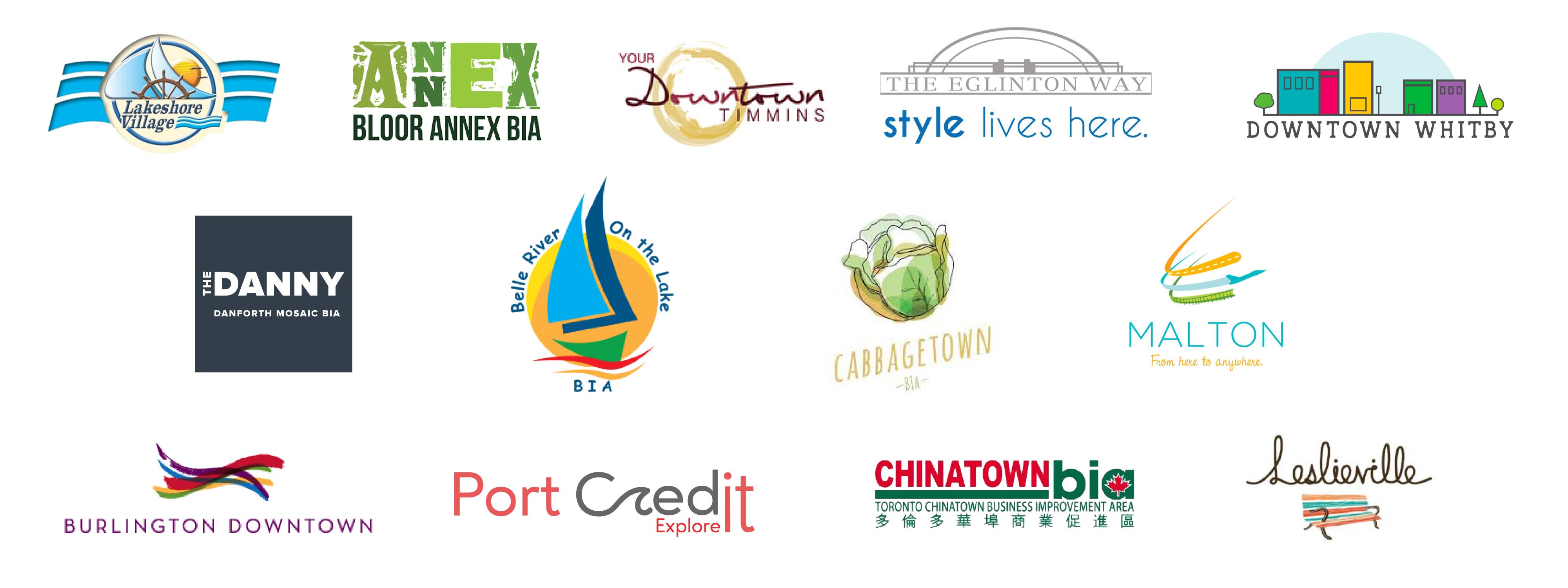 Main Street BIA client logos including Lakeshore Village, Bloor Annex, Timmins, Eglinton Way, Whitby, Danforth, Belle River, Cabbagetown, Malton, Burlington, Port Credit, Chinatown, Leslieville